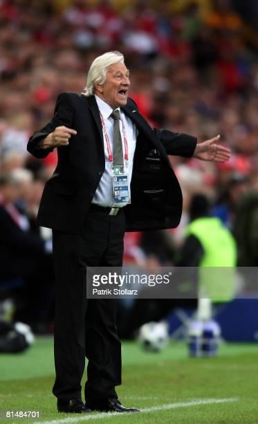 Karel Bruckner coach of Czech Republic reacts during the Euro 2008 Group A match between Switzerland and Czech Republic at St. Jakob-Park on June 7,...