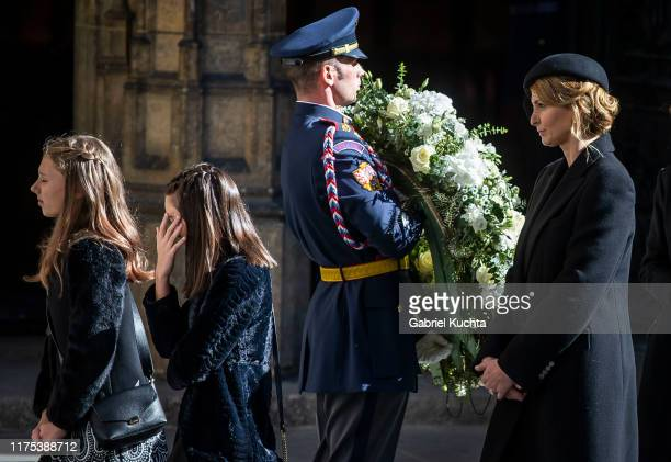 Karel Gott's vidow Ivana Gottova after the funeral with state honours at St. Vitus Cathedral for the late Czech singer Karel Gott on October 12, 2019...