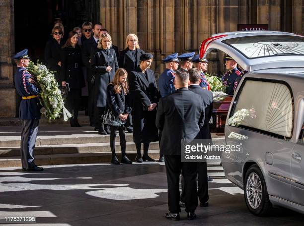 Karel Gott's vidow Ivana Gottova with daughter after the funeral with state honours of late Czech singer Karel Gott at St Vitus Cathedral on 12...