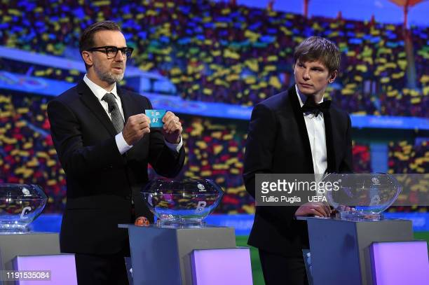 Karel Poborsky and Andrey Arshavin attend the UEFA Euro 2020 Final Draw Ceremony on November 30, 2019 in Bucharest, Romania.