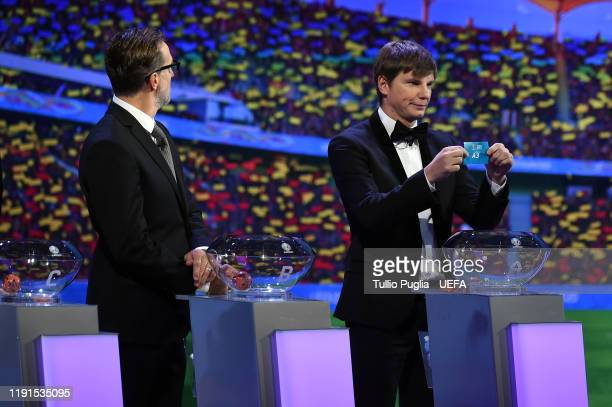 Karel Poborsky and Andrey Arshavin attend the UEFA Euro 2020 Final Draw Ceremony on November 30 2019 in Bucharest Romania
