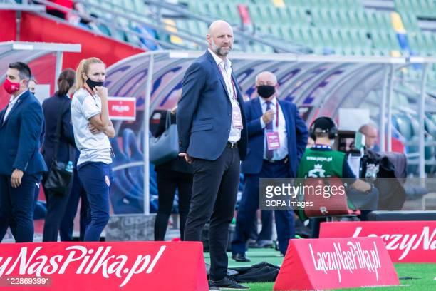 Karel Rada coach of Czech Republic women's football team seen during the UEFA Women's EURO 2021 qualifying match between Poland and Czech Republic at...