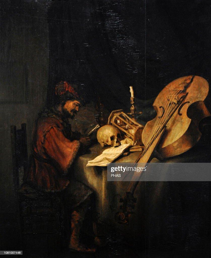 Man Reading, with Symbols of Transience, ca.1655, by Karel van der Pluym (1625-1672). : News Photo