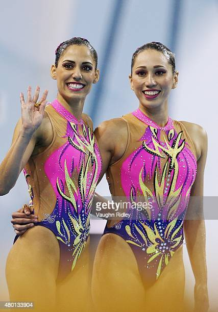Karem Achach and Nuria Diosdado of Mexico compete in the Synchronized Swimming Duet Technical Routine during the Toronto 2015 Pan Am Games at the...