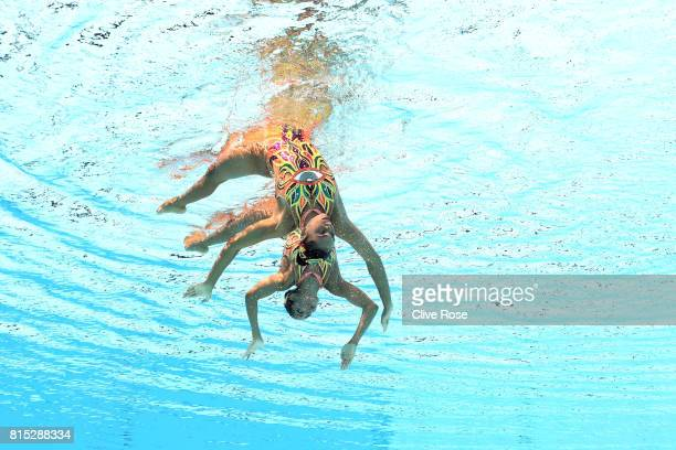 Karem Achach Ramirez and Nuria Lidon Diosdado Garcia of Mexico compete during the Synchronised Swimming Duet Technical final on day three of the...