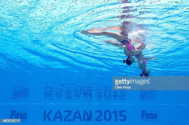 Karem Faride Achach Ramirez and Nuria Lidon Diosdado Garcia of Mexico compete in the Women's Duet Technical Synchronised Swimming Final on day two of...
