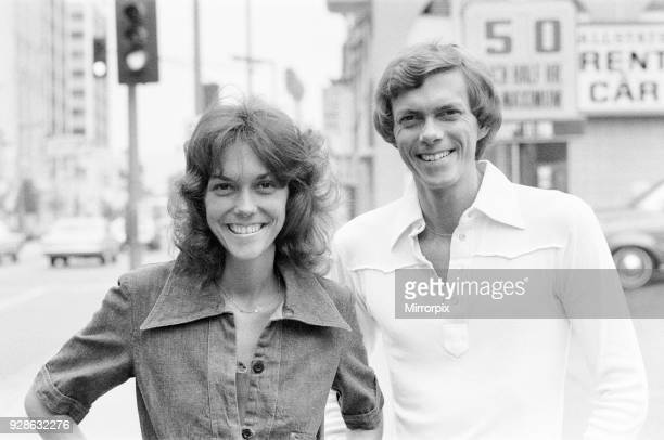 Karen and Richard Carpenter The Carpenters pictured in Hollywood Los Angeles California USA Here they are outside the Chinese Theatre Graumans in...
