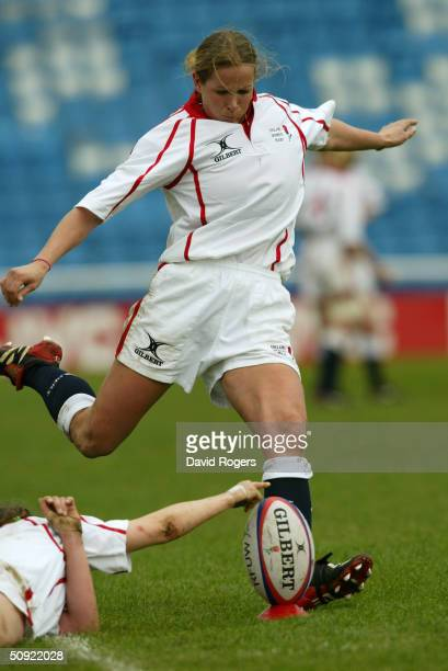 Karen Andrew of England in action during the Women's Rugby Union International between England and Wales at the Stoop Memorial ground on March 20...