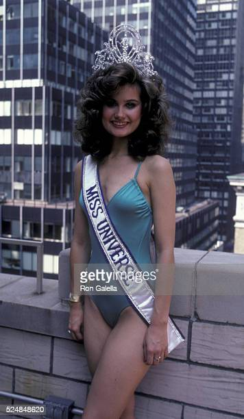 Karen Baldwin attends Miss Universe Press Conference on August 3 1982 at the Hallaoran House Hotel in New York City