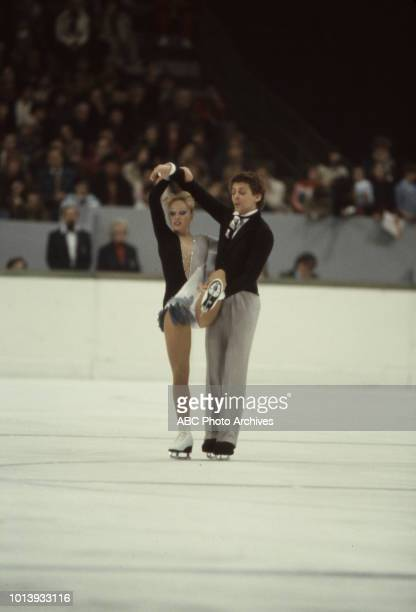 Karen Barber Nicky Slater competing in the Ice dancing event at the 1984 Winter Olympics / XIV Olympic Winter Games Zetra Ice Hall