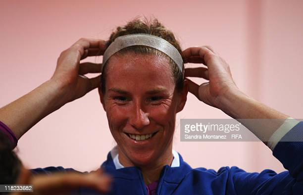 Karen Bardsley of England adjusts her hair prior to the FIFA Women's World Cup Group B match between England and Japan at FIFA World Cup stadium...