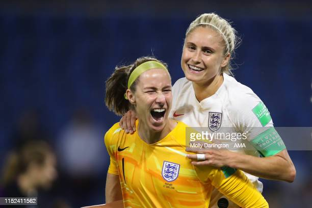Karen Bardsley of England and Lucy Bronze of England celebrate at full time during the 2019 FIFA Women's World Cup France Quarter Final match between...