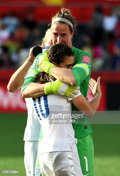 Karen Bardsley of England celebrates with Karen Carney of England after winning the FIFA Women's World Cup 2015 Round of 16 match between Norway and...