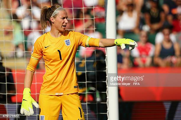 Karen Bardsley of England directs her defense during the FIFA Women's World Cup Canada 2015 semi final match between England and Japan at...