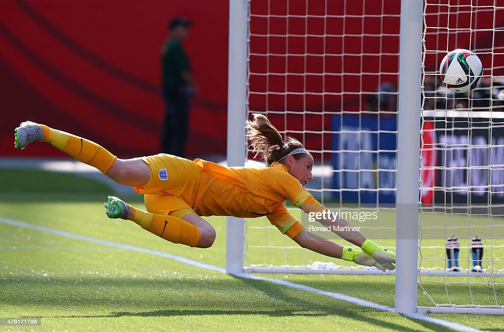 Karen Bardsley of England dives for the own goal against Japan during the FIFA Women's World Cup Canada 2015 Semi Final match at Commonwealth Stadium on July 1, 2015 in Edmonton, Canada.