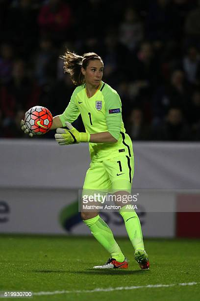 Karen Bardsley of England during the UEFA Women's European Qualifer between England and Belgium at The New York Stadium on April 8 2016 in Rotherham...