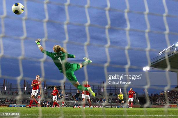 Karen Bardsley of England gets the second goal of Louisa Necib of France during the UEFA Women's EURO 2013 Group C match between France and England...