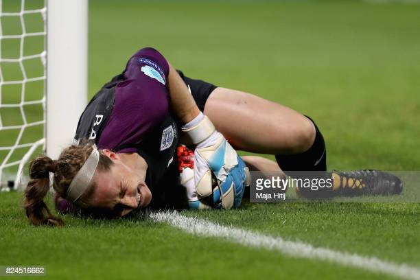 Karen Bardsley of England goes down injured during the UEFA Women's Euro 2017 Quarter Final match between France and England at Stadion De...