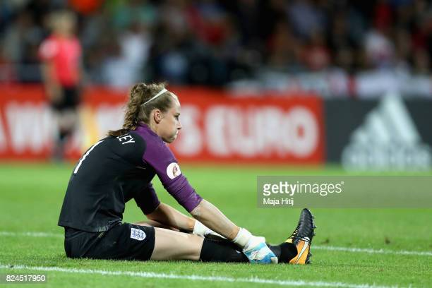 Karen Bardsley of England holds her leg in pain during the UEFA Women's Euro 2017 Quarter Final match between France and England at Stadion De...