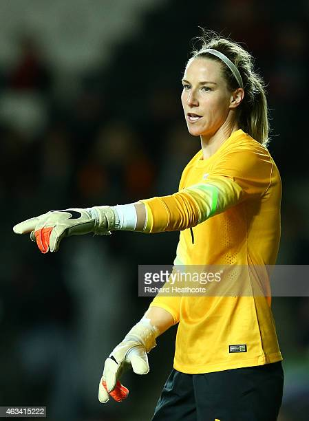 Karen Bardsley of England in action during the Women's friendly International match between England and the USA at Stadium mk on February 13 2015 in...