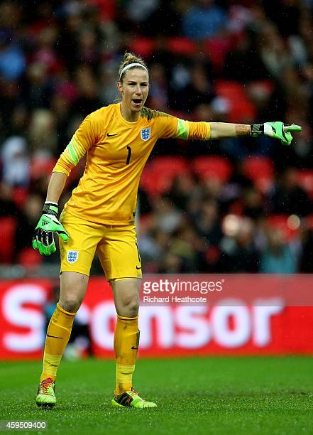 Karen Bardsley of England in action during the Women's International Friendly match between England and Germany at Wembley Stadium on November 23...