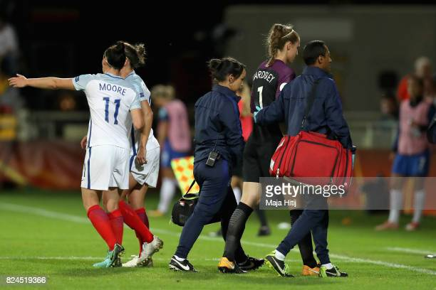 Karen Bardsley of England is forced off with injury during the UEFA Women's Euro 2017 Quarter Final match between France and England at Stadion De...