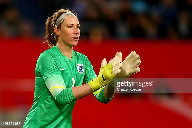 Karen Bardsley of England is seen during the Women's International Friendly match between Germany and England at SchauinslandReisenArena on November...