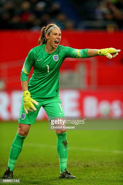 Karen Bardsley of England issues instructions during the Women's International Friendly match between Germany and England at SchauinslandReisenArena...