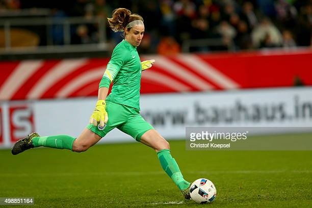 Karen Bardsley of England kicks the ball during the Women's International Friendly match between Germany and England at SchauinslandReisenArena on...