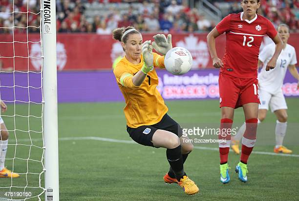 Karen Bardsley of England makes a save against Canada during their Women's International Friendly match on May 29 2015 at Tim Hortons Field in...