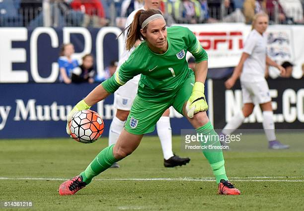 Karen Bardsley of England plays against Germany in a friendly international match in the Shebelieves Cup at Nissan Stadium on March 6 2016 in...