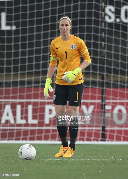 Karen Bardsley of England prepares to clear the ball from her crease against Canada during their Women's International Friendly match on May 29 2015...