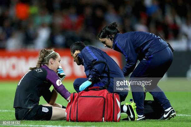 Karen Bardsley of England receives treatment from the medical team during the UEFA Women's Euro 2017 Quarter Final match between France and England...
