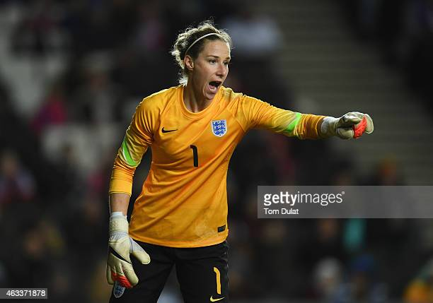Karen Bardsley of England shouts during the Women's Friendly International match between England and USA at Stadium mk on February 13 2015 in Milton...