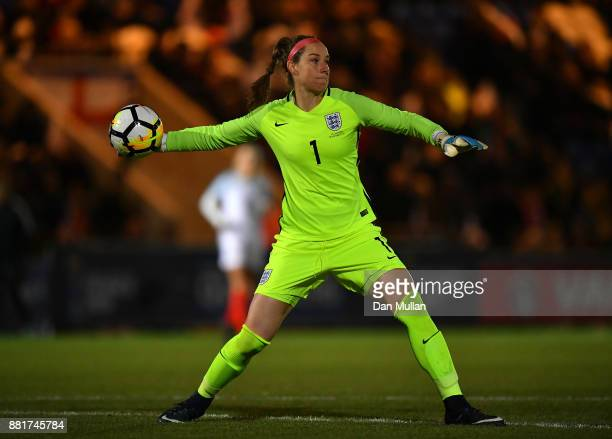 Karen Bardsley of England throws the ball during the FIFA Women's World Cup Qualifier between England and Kazakhstan at Weston Homes Community...
