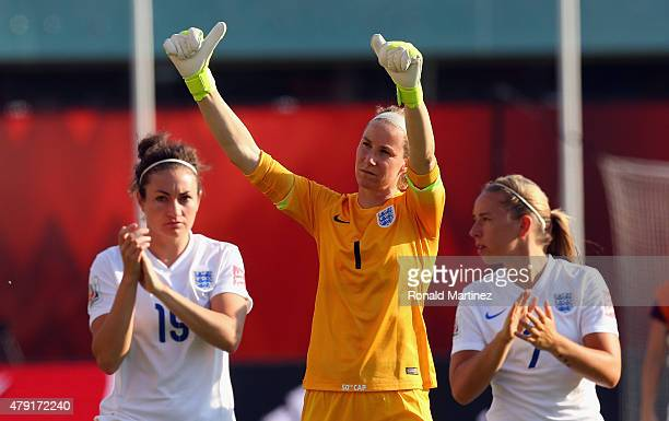 Karen Bardsley of England waves after a loss to Japan during the FIFA Women's World Cup Canada 2015 Semi Final match at Commonwealth Stadium on July...