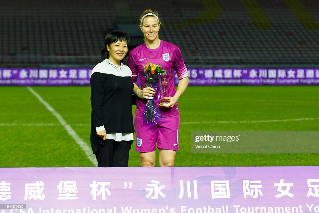 Karen Bardsley #1 of England wins the Best Goal Keeper after the 2015 Yongchuan Women's Football International Matches at Yongchuan Sports Center on October 27, 2015 in Yongchuan, Chongqing of China.