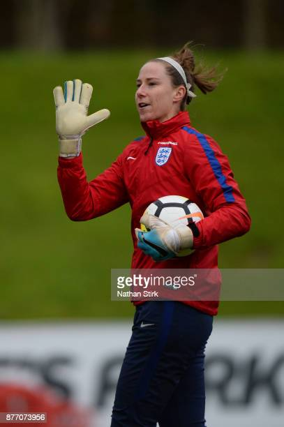 Karen Bardsley of England Women during a training session at St Georges Park on November 21 2017 in BurtonuponTrent England