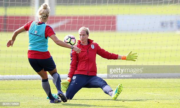 Karen Bardsley of England Women makes a save during a training session at St Georges Park on September 14 2016 in BurtonuponTrent England
