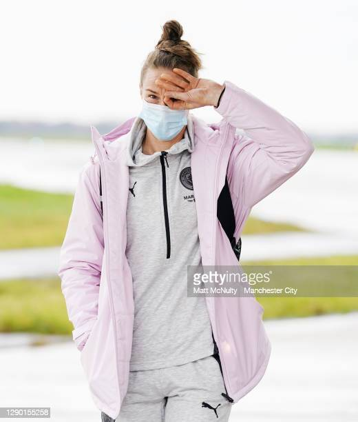 Karen Bardsley of Manchester City boards the team flight at Manchester Airport for the trip to Gothenburg on December 08, 2020 in Manchester, England.
