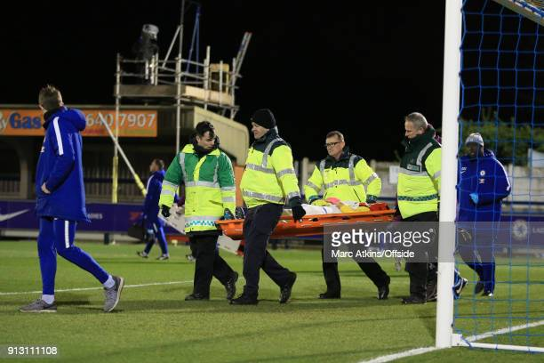 Karen Bardsley of Manchester City is taken away on a stretcher during the WSL match between Chelsea Ladies and Manchester City Ladies at The Cherry...