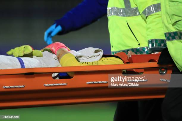 Karen Bardsley of Manchester City leaves the match on a stretcher during the WSL match between Chelsea Ladies and Manchester City Ladies at The...