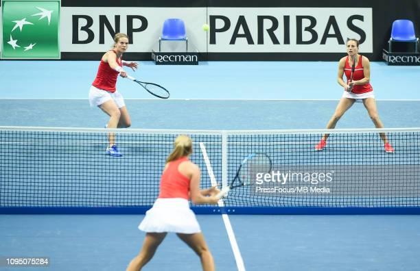 Karen Barritza and Maria Jespersen of Denmark in action during their doubles match against Anastasia Potapova and Margarita Gasparyan of Russia...