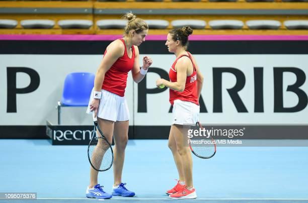 Karen Barritza and Maria Jespersen of Denmark react during their doubles match against Anastasia Potapova and Margarita Gasparyan of Russia during...