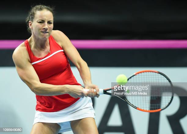 Karen Barritza of Denmark in action during her match against Magda Linette of Poland during the Fed Cup Europe and Africa Zone Group I match between...