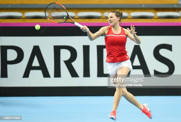 Karen Barritza of Denmark in action during their doubles match against Anastasia Potapova and Margarita Gasparyan of Russia during the Fed Cup Europe...