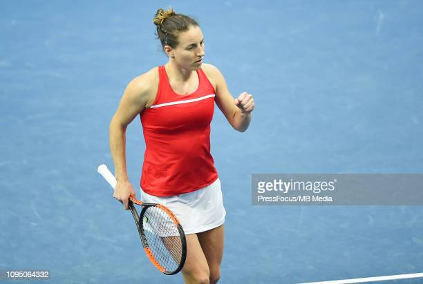 Karen Barritza of Denmark react during their doubles match against Anastasia Potapova and Margarita Gasparyan of Russia during the Fed Cup Europe and...