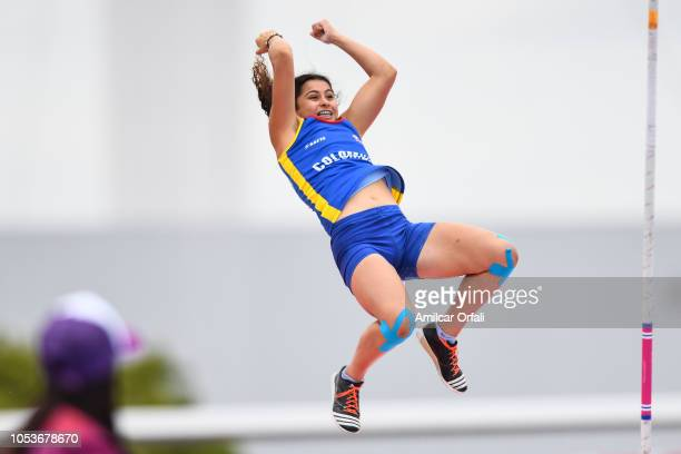 Karen Bedoya of Colombia competes in the Women's Pole Vault Stage 1 at Youth Olympic Park Villa Soldati on October 11 2018 in Buenos Aires Argentina