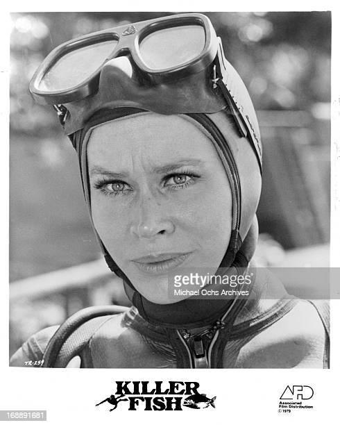 Karen Black in scuba gear in a scene from the film 'Killer Fish' 1979