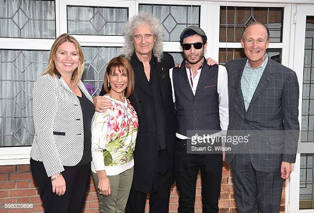 Karen Bradley Brian May Kashmira Cooke guest and Peter Bazalgette attend the unveiling of an English Heritage Blue Plaque commemorating where Freddie...